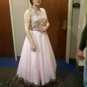 2 pc blush pink prom/hoco dress